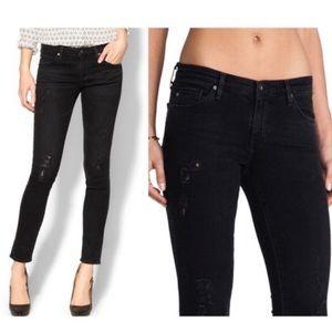 Ag The Legging Ankle Super Skinny Black Jeans
